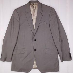 Burberry London 42L Suit Jacket Gray Beige Striped